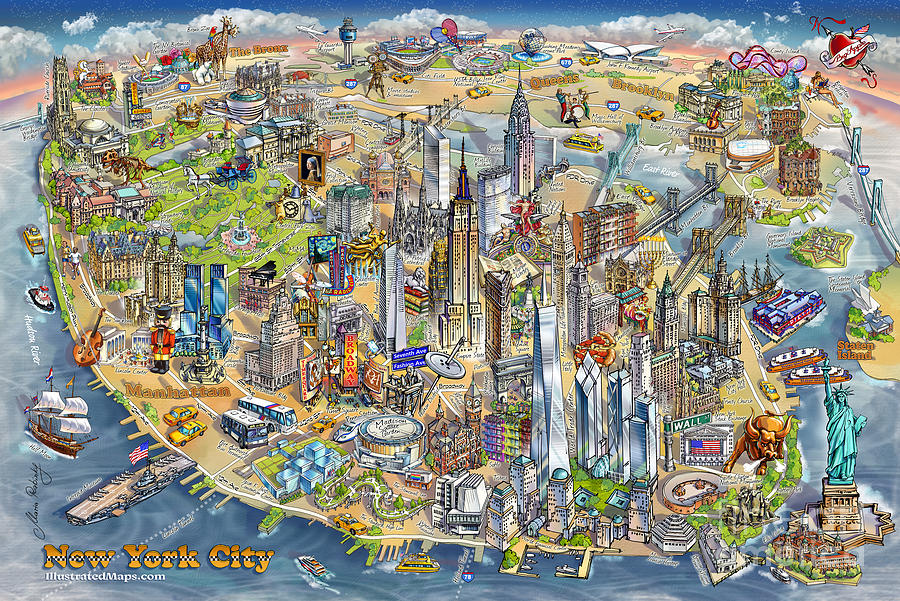 New York City Illustrated Map Painting by Maria Rabinky Map Of New Yorkcity on