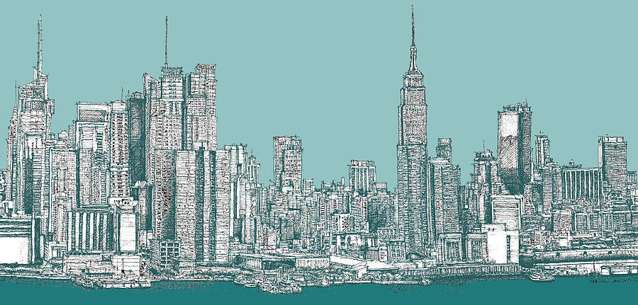 New York City In Bluegreen Drawing by Building Art