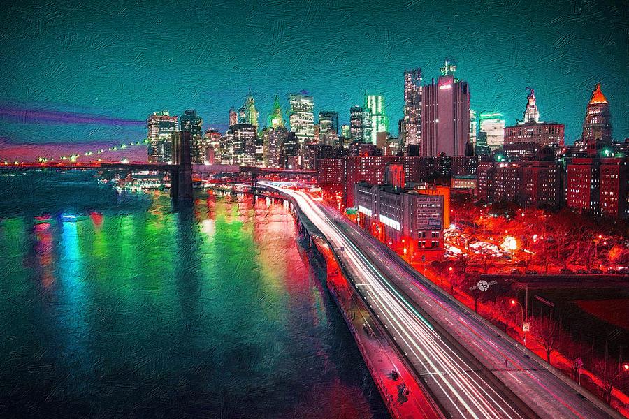 Manhattan Bridge Painting   New York City Lights Red By Tony Rubino Amazing Pictures