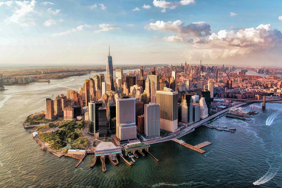 New York City Manhattan Aerial Skyline Painting By Christopher Arndt