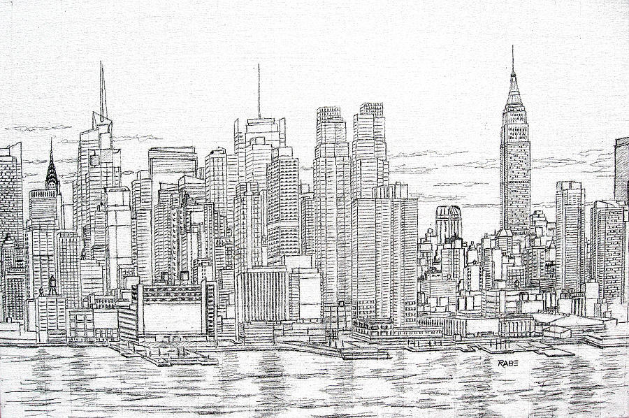 Manhattan Skyline Drawing By Mike Rabe