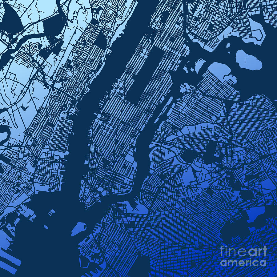 New York City Manhattan Two Tone Map Drawing By Knut Hebstreit - Nyc map art