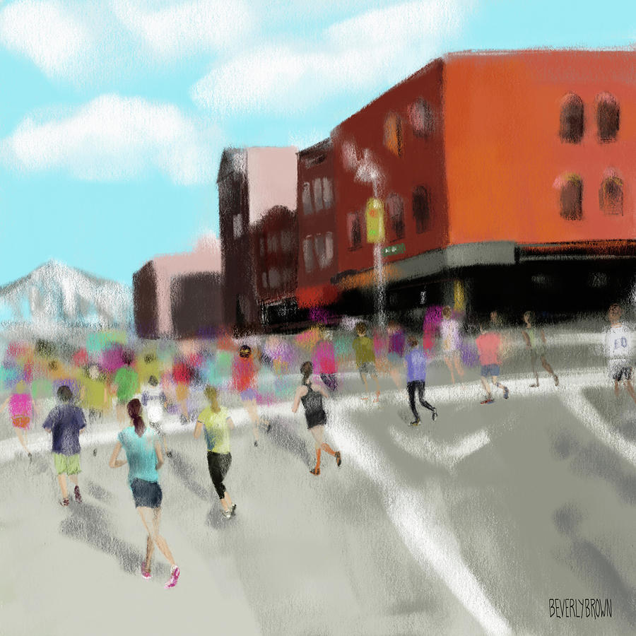 New York Painting - New York City Marathon by Beverly Brown