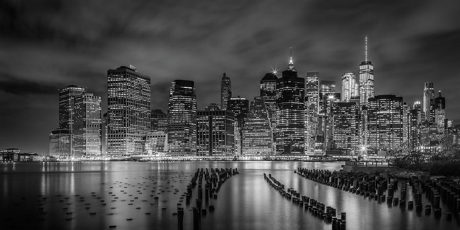 NEW YORK CITY Monochrome Night Impressions - Panoramic by Melanie Viola