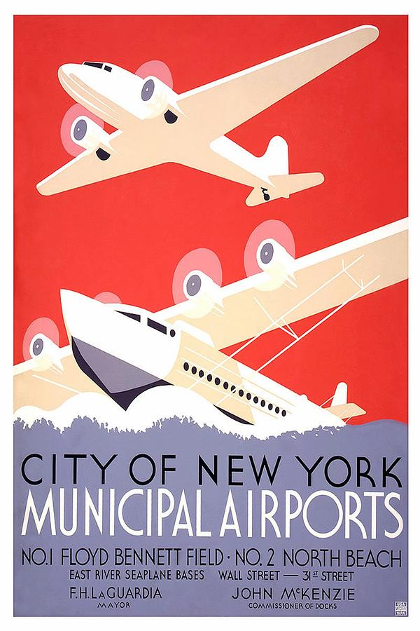 New York City Municipal Airports - Vintage Illustrated Poster Painting
