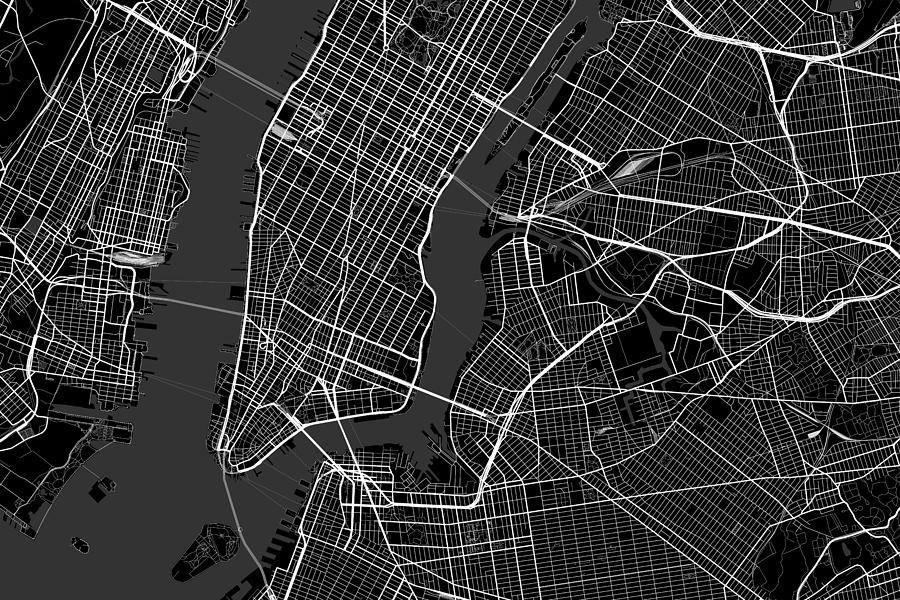 New York City New York Usa Dark Map Digital Art by Jurq Studio Digital Map Nyc on