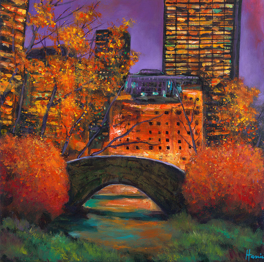 Gapstow Bridge Central Park Painting - New York City Night Autumn by Johnathan Harris