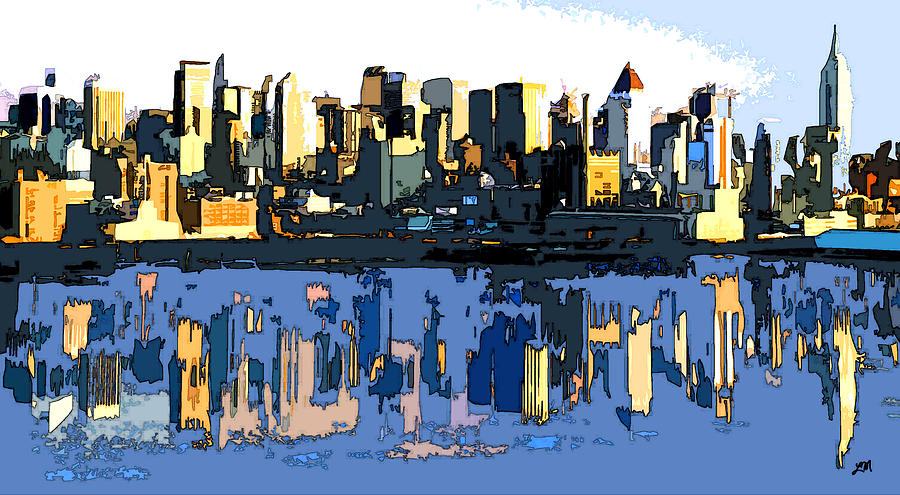 Abstract Digital Art - New York City Skyline Abstract by Linda Mears