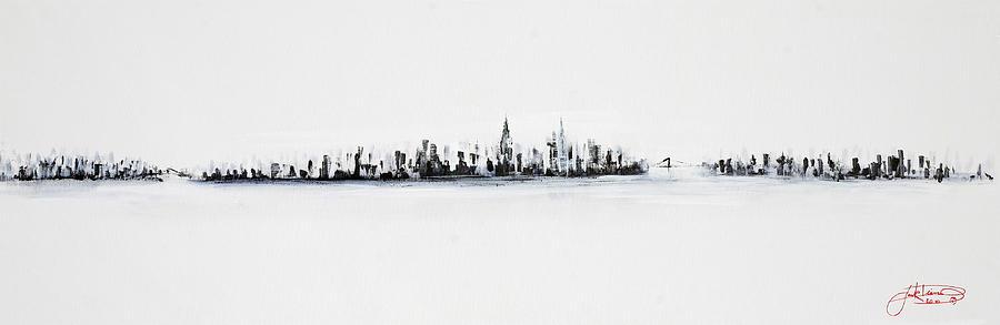 Skyline Painting - New York City Skyline Black And White by Jack Diamond