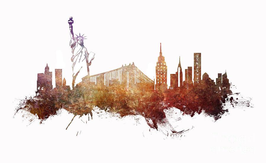 New York Digital Art - New York City skyline ginger by Justyna Jaszke JBJart