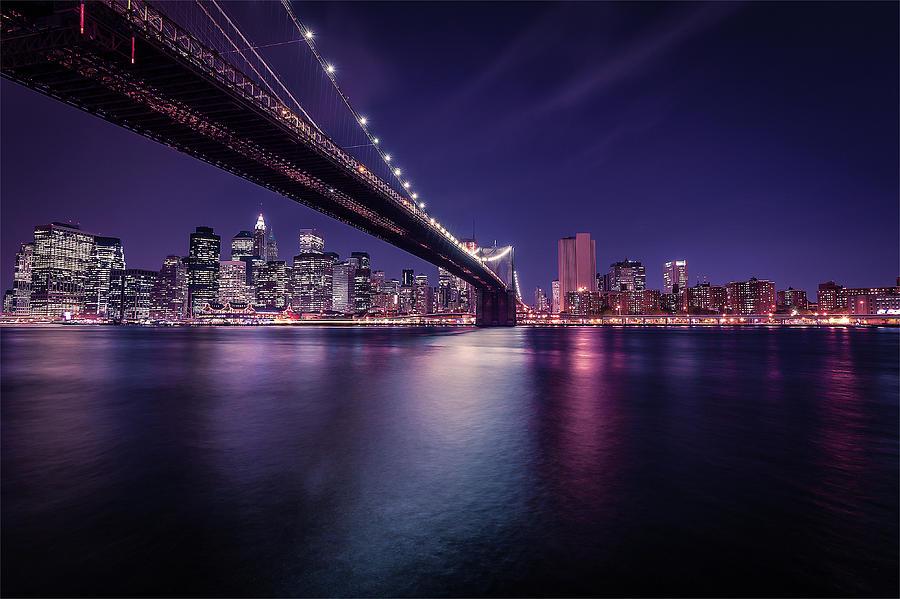 New York City Skyline Night Photography Art Photograph By Wall Art