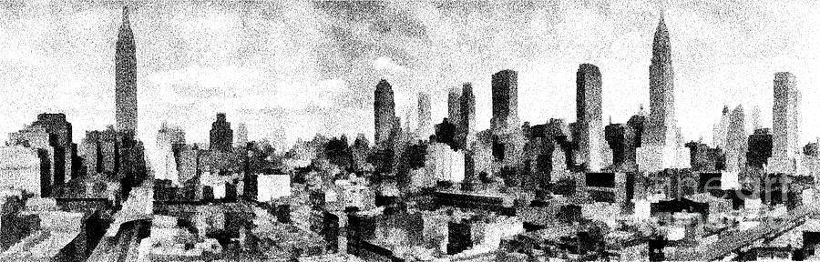 Nyc Digital Art - New York City Skyline Sketch by Edward Fielding