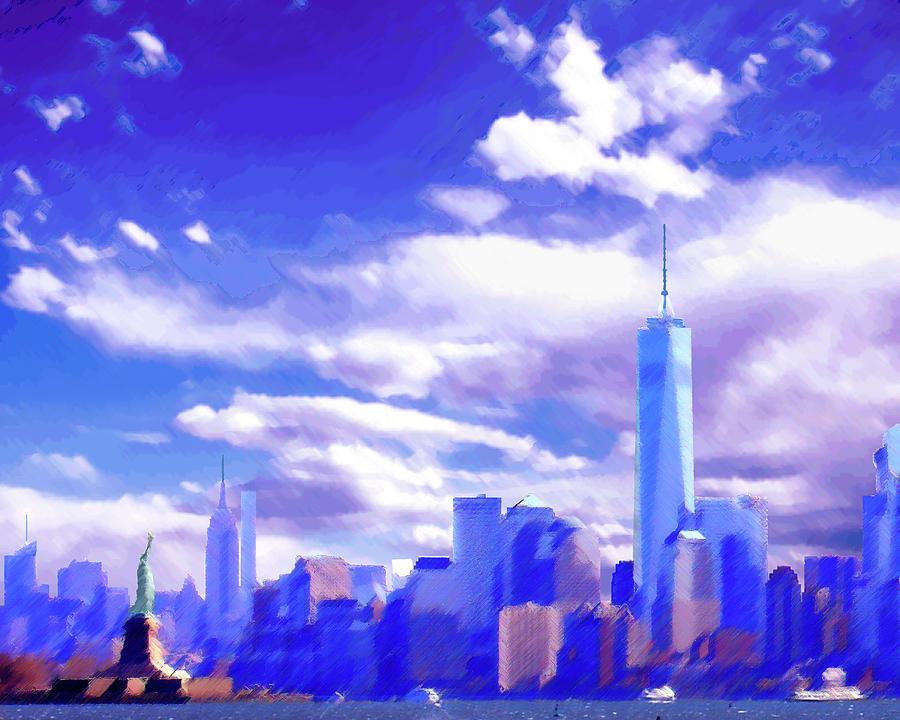 New York City Skyline With Freedom Tower Digital Art