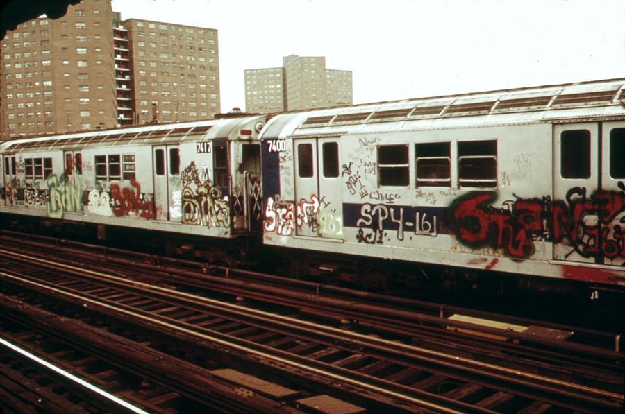 History Photograph - New York City Subway. A Graffiti by Everett