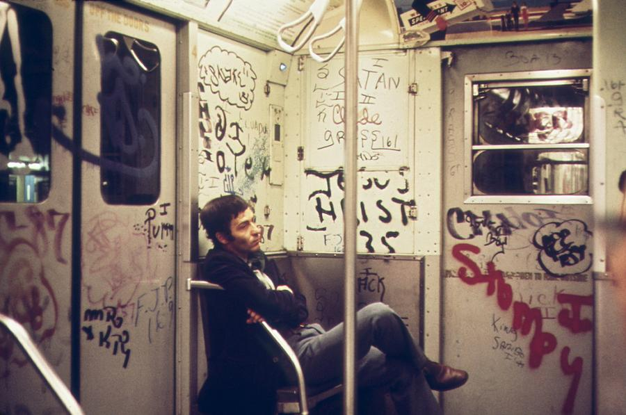 History Photograph - New York City Subway. A Lone Passenger by Everett