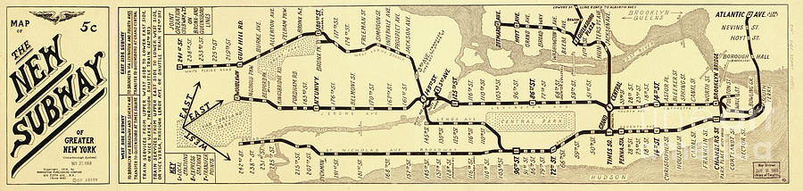 New York City Subway Map Vintage Painting