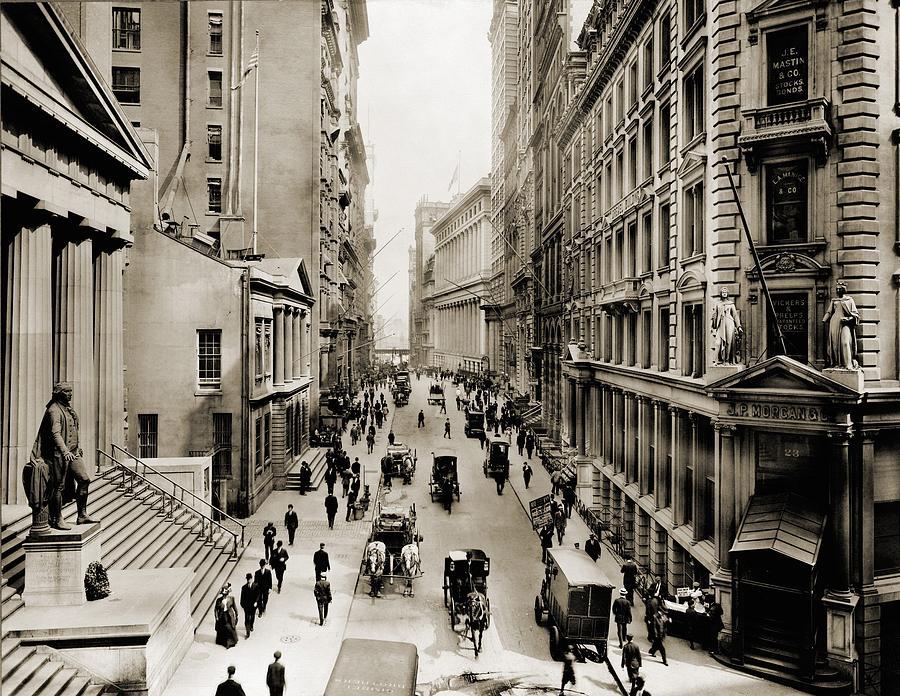 History Photograph - New York Citys Wall Street, Looking by Everett