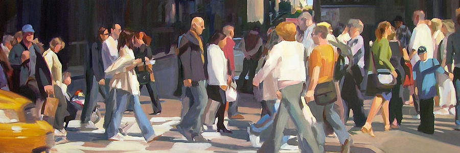 A Crowd Of People Cross A Busy Intersection In New York City. Painting - New York Crosswalk by Merle Keller