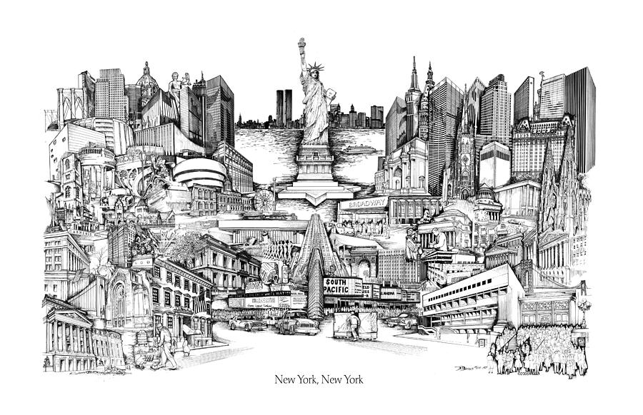 New York Drawing - New York by Dennis Bivens