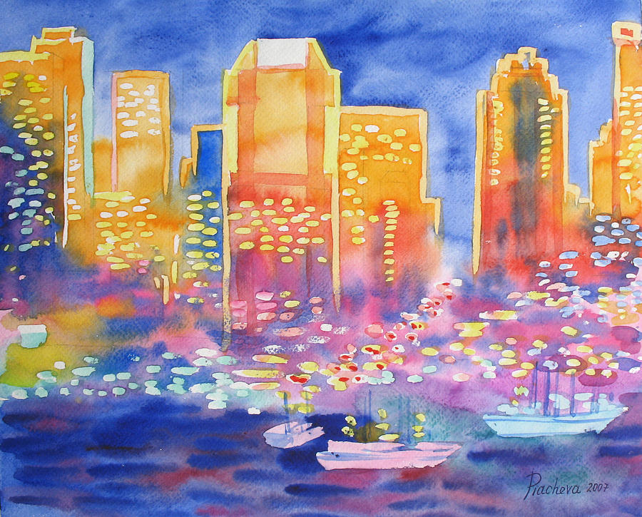 Landscape Painting - New York Great City Silhouettes.2007 by Natalia Piacheva