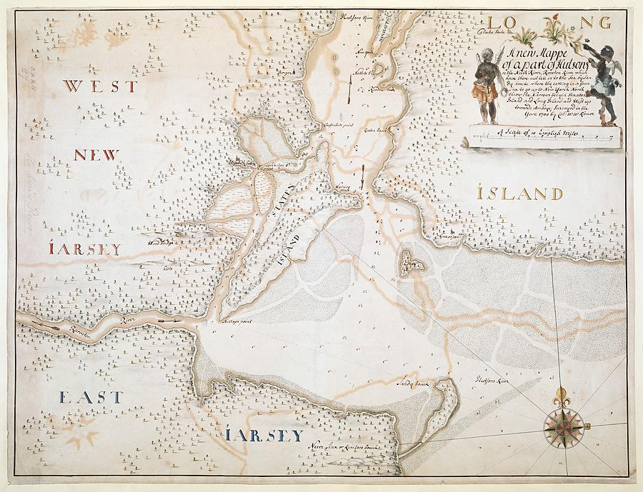 Map Of New York Harbour.New York Harbor Map 1700 By Vintage Printery