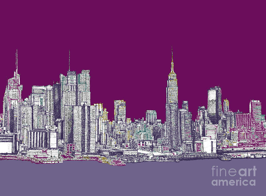 Purple Drawing - New York In Purple by Adendorff Design