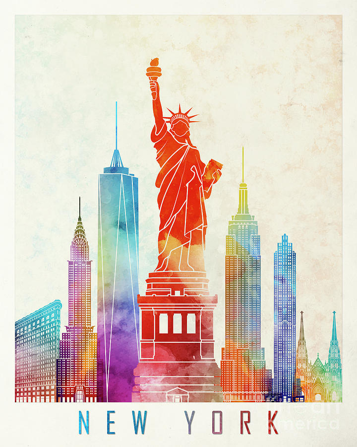 Watercolor New York: New York Landmarks Watercolor Poster Painting By Pablo Romero