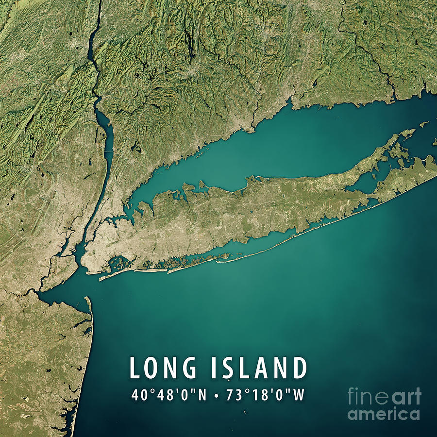 Topographic Map Long Island.New York Long Island 3d Render Satellite View Topographic Map By