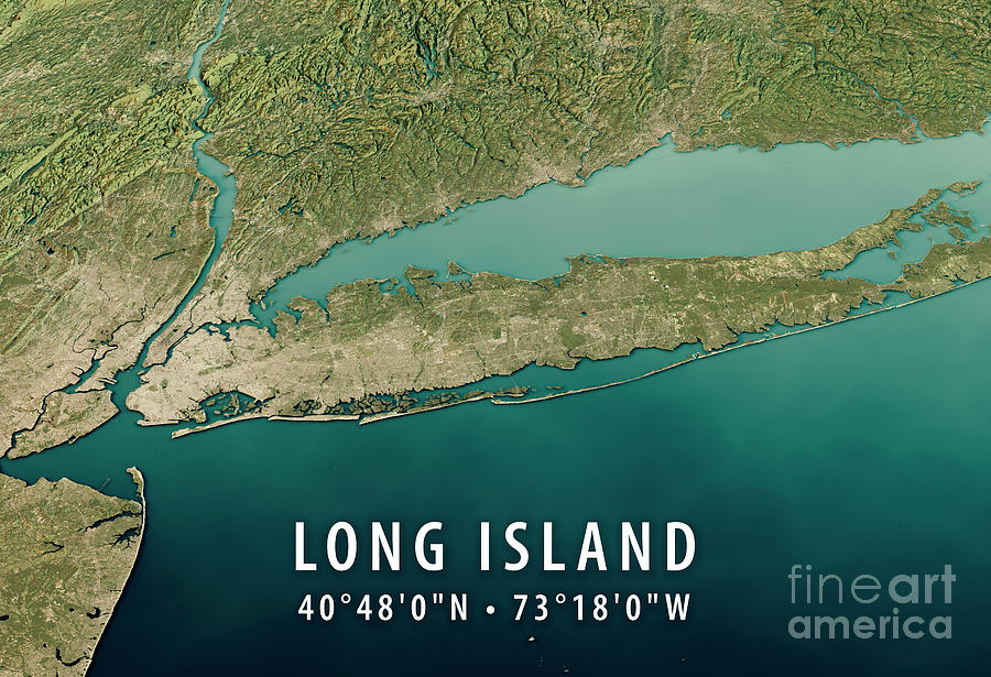 Topographic Map Long Island.New York Long Island 3d Render Satellite View Topographic Map Ho