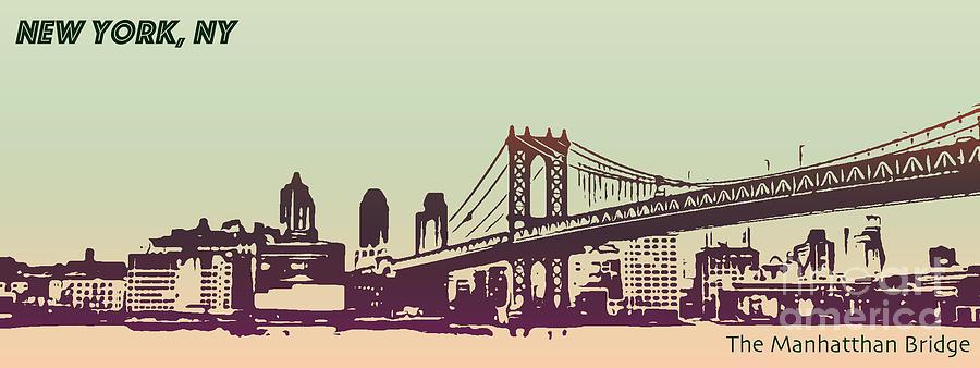 Travel Photograph - New York Manhattan Bridge by PorqueNo Studios