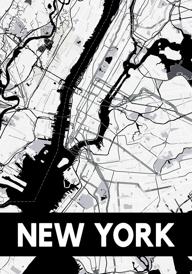 New York Map Black And White.New York Map Black And White Digital Art By Maps Muse