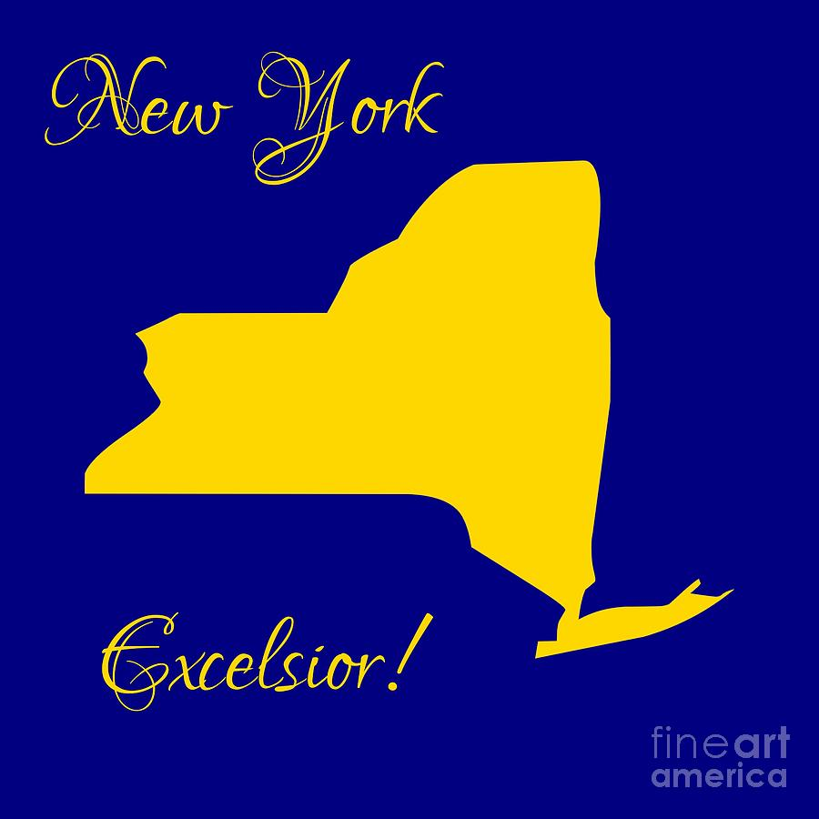 new york map in state colors blue and gold with state. Black Bedroom Furniture Sets. Home Design Ideas