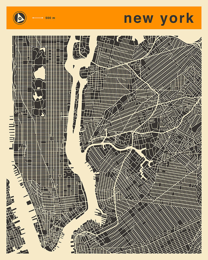 New York Map Digital Art - New York Map by Jazzberry Blue
