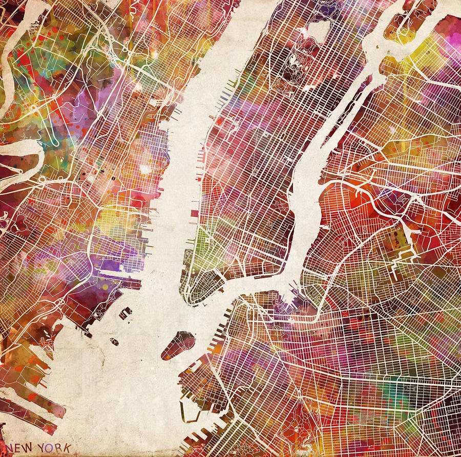 New York Map Painting Painting By Map Map Maps - Nyc map art