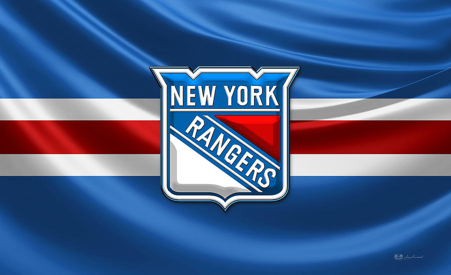 Sports Photograph - New York Rangers - 3D Badge Over Flag by Serge Averbukh