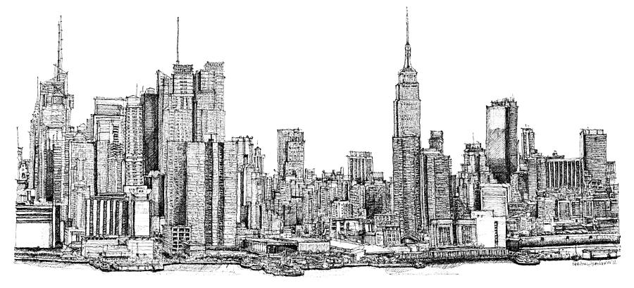 Line Drawing New York City Skyline : New york skyline as gift drawing by building art