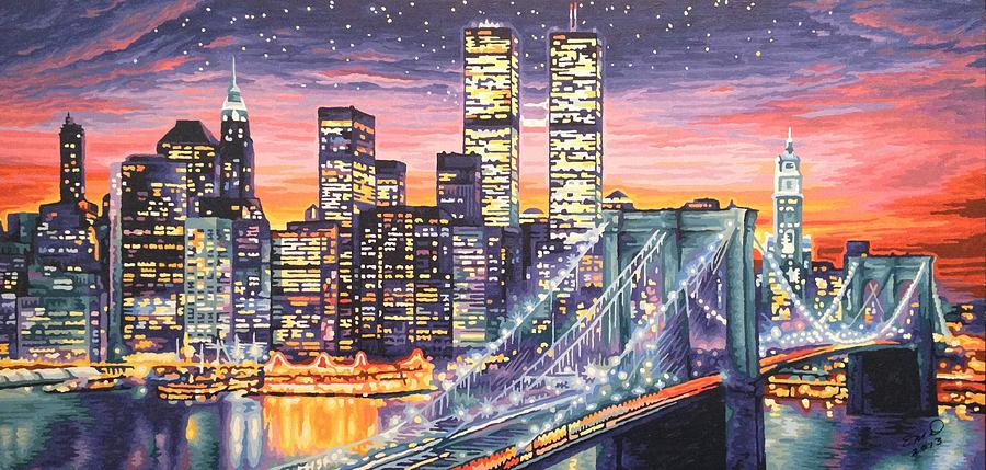 New York Skyline At Night Painting By Evelyn Deen
