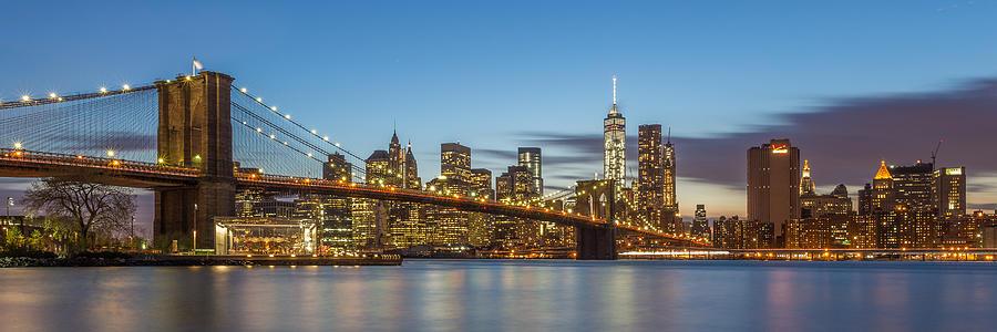Architecture Photograph - New York Skyline - Brooklyn Bridge Panorama by Christian Tuk