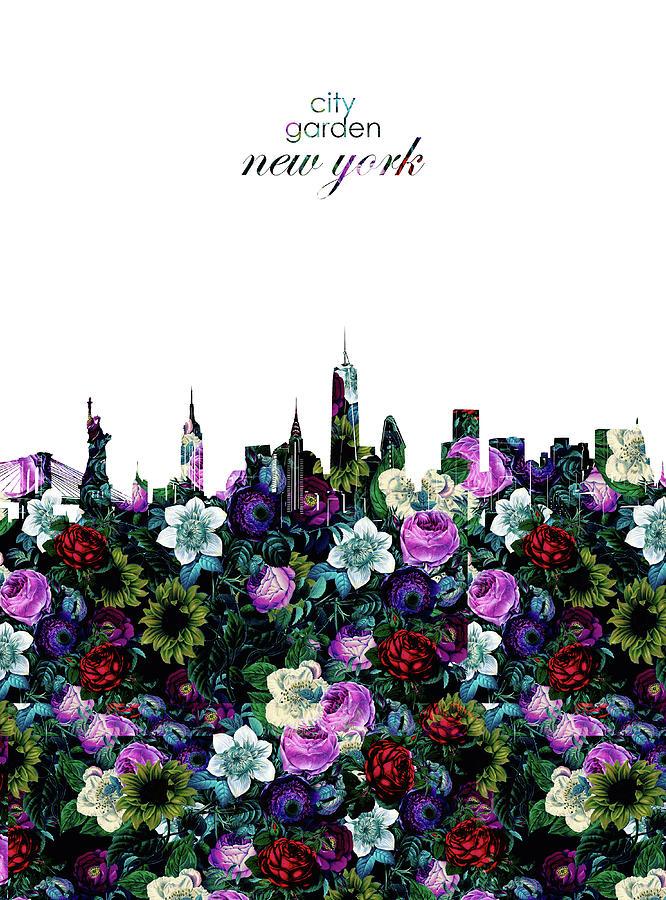 New York Digital Art - New York Skyline Floral 3 by Bekim M