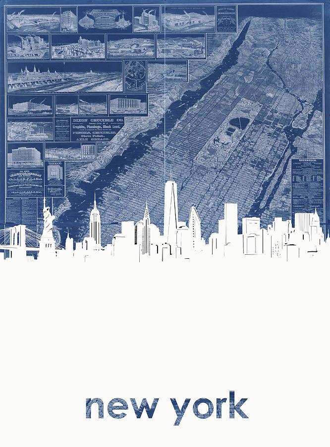 New York Digital Art - New York Skyline Map 2 by Bekim M