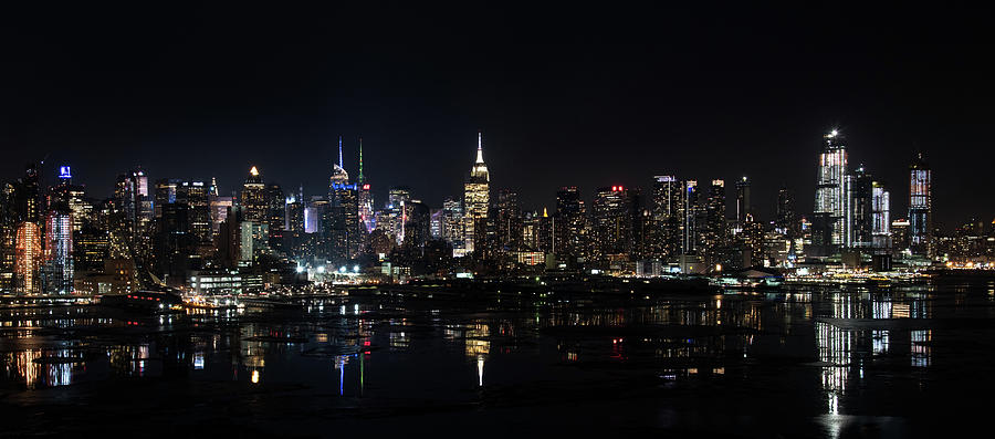 New York Skyline On Winter Night Panorama Photograph