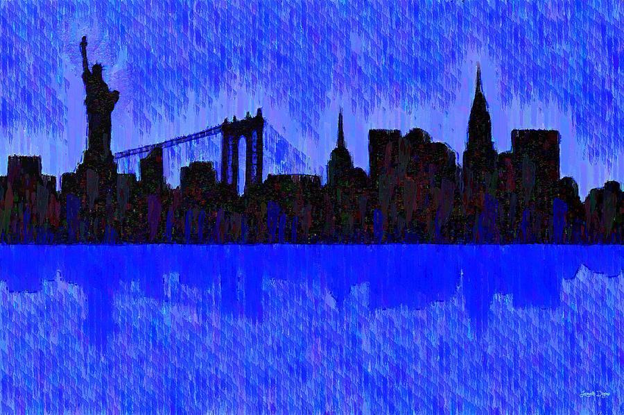 New York Skyline Silhouette Blue - Pa Painting