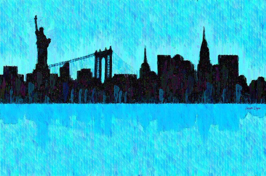 New York City Skyline Digital Art - New York Skyline Silhouette Cyan - Da by Leonardo Digenio