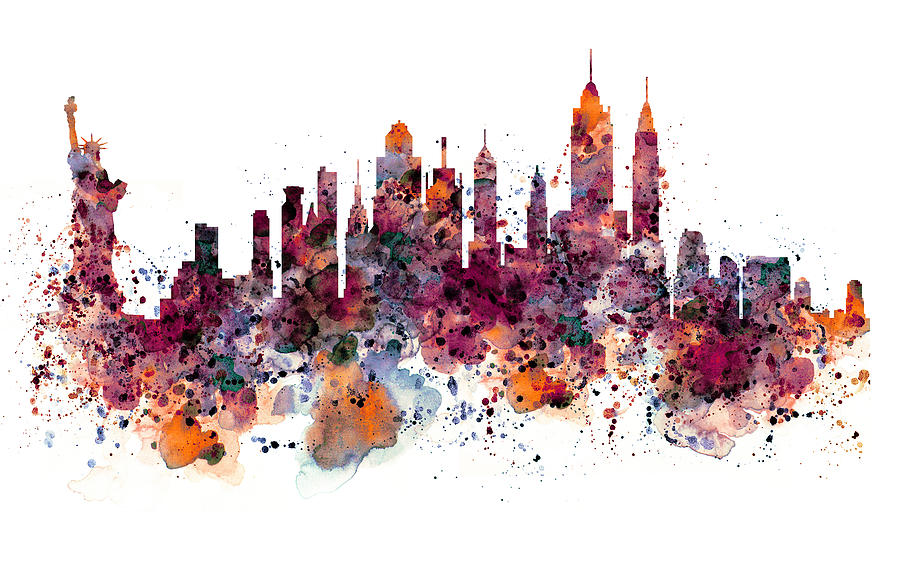 New york mixed media new york skyline watercolor by marian voicu
