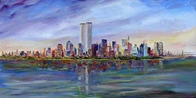 Nyc Painting - New York Skyline With Trade Center Towers by Jeff Pittman