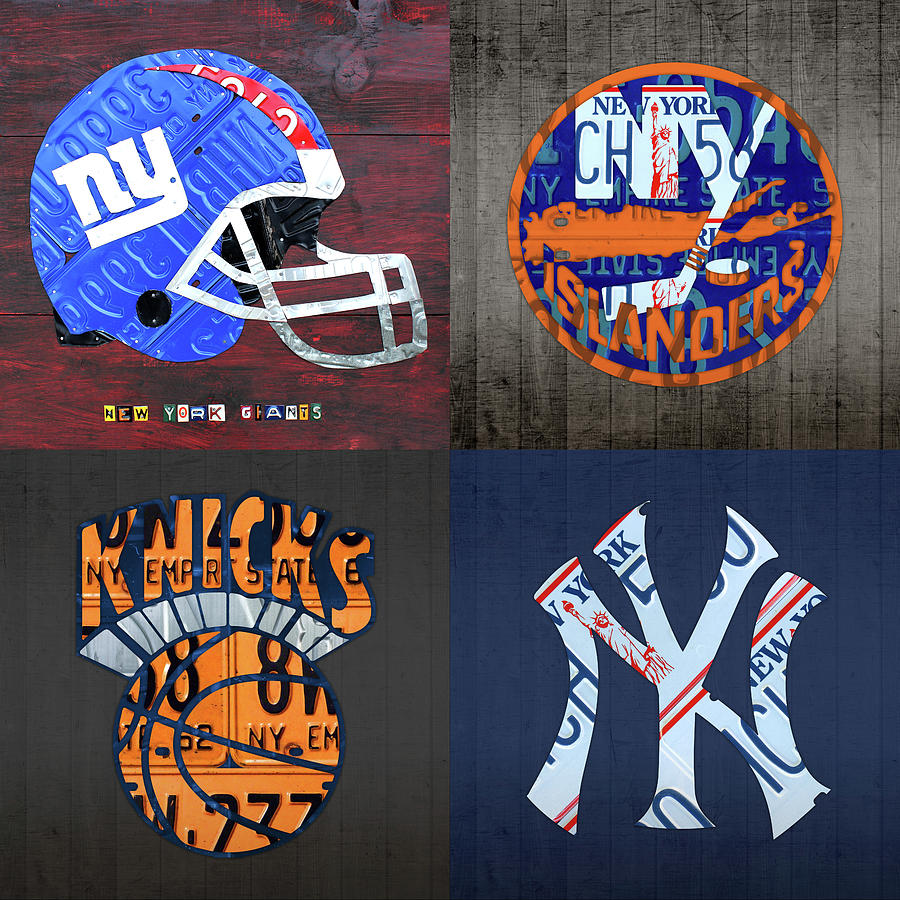 New York Sports Team License Plate Art Collage Giants