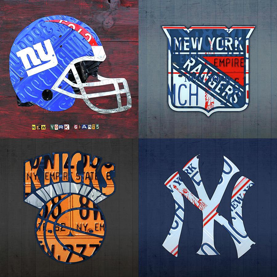 New York Sports Team License Plate Art Giants Rangers