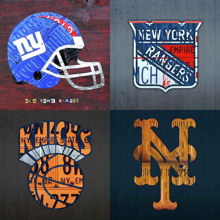 New York Mixed Media - New York Sports Team Logo License Plate Art Giants Rangers Knicks Mets V8 by Design Turnpike
