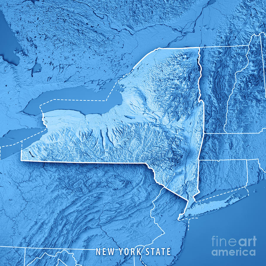 New York State Usa 3d Render Topographic Map Blue Border