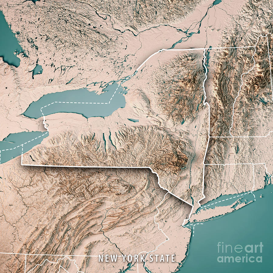 New York State Usa 3d Render Topographic Map Neutral